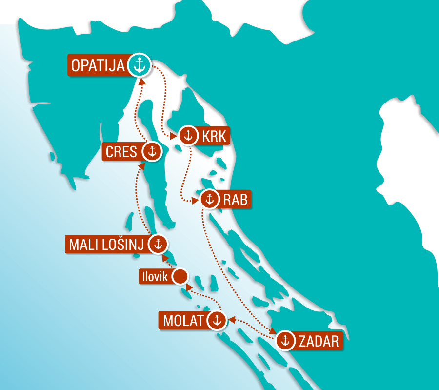 Map for Northern Croatia Cruise