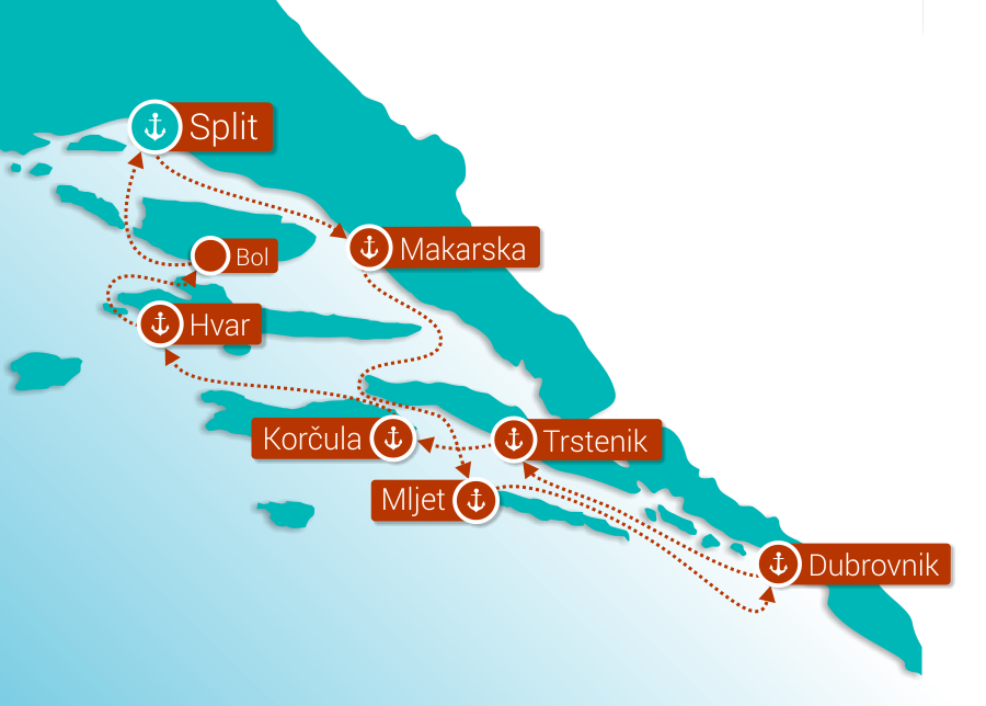Map for Southern Croatia cruise from Split