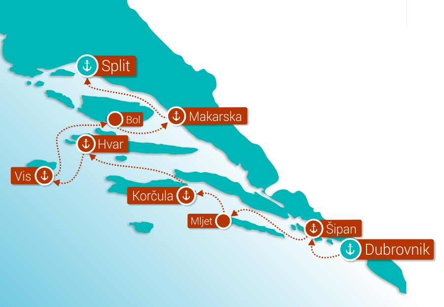 Map for Dubrovnik to Split Cruise in Comfort