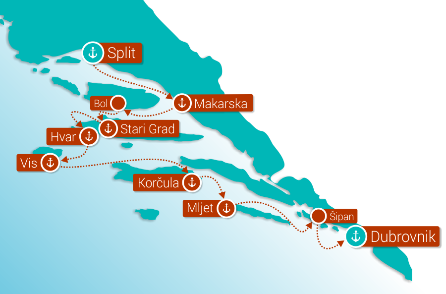 Map for Split to Dubrovnik in comfort